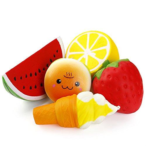 Schöne 5 Stück (Biging 5 Stücke Kawaii JumboFruit Squishies Spielzeug Stress Relief Toys Langsam Rising Squishies ( Erdbeere, Melonen, Zitrone, Lächeln Burger, Eis))