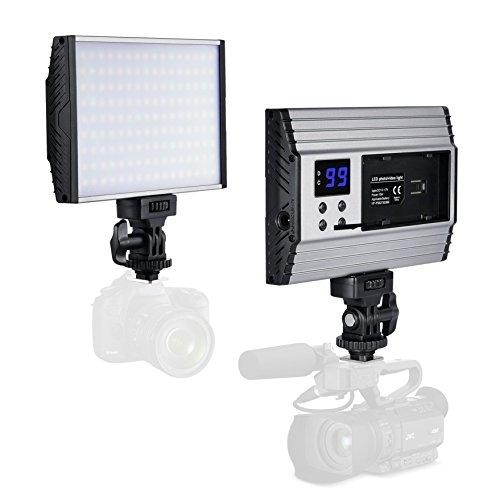 Galleria fotografica Zecti Video Light Pannello 144 LED Dimmerabili Light con Adattatore Flash Esterno, 3200-5600K, 1500 lm, Schermo LCD, Pannello LED Videocamera 15W Alluminio per Fotocamera Videocamera DSLR Cannon Nikon