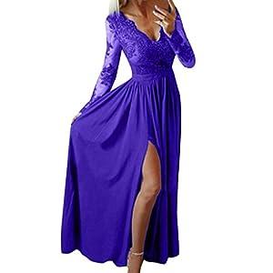FeiBeauty Damen Sexy tiefem V-Ausschnitt Cocktailkleid Jahrgang Kleider Spitzenkleid Langarm Rockabilly Kleid Abendkleider Partykleid (S-XXL)