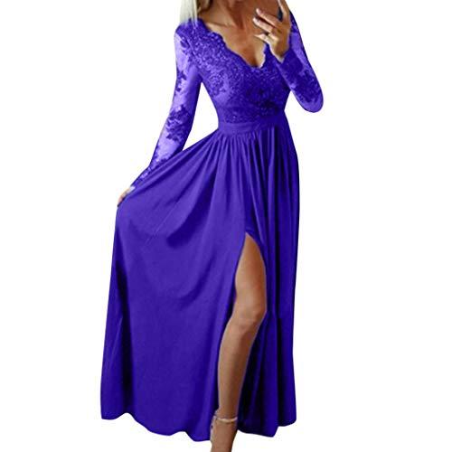 WWricotta Women Deep V-Neck Lace Long Sleeve Evening Party Ball Prom Wedding Long Dress(Blau,XL)