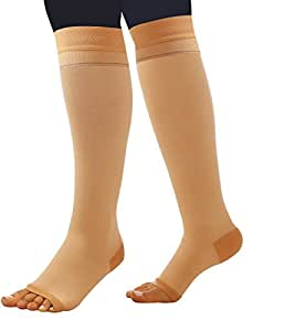 Comprezon Cotton Varicose Vein Stockings Class 2-Below Knee-Medium(For ankle circumference of 23-26 cm)-1 Pair