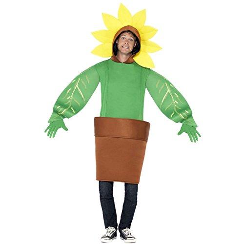 Jumpsuit Blume Kostüm Sonnenblume unisex ausgefallenes Ganzkörperkostüm Faschingskostüm Blümchen Gärtnerin Kostüm Blumentopf Karnevalskostüm ()