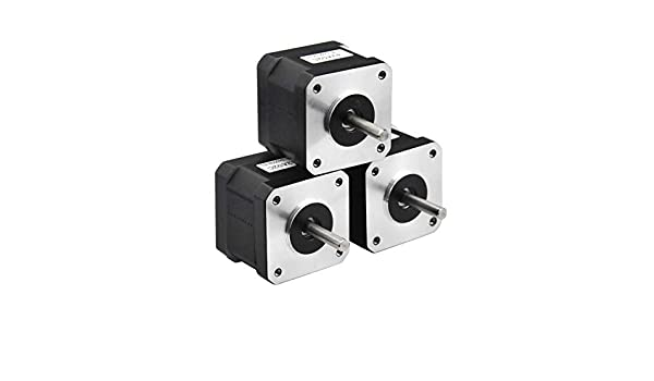 2 Phase Step Motor Bipolar 1.5A 59.5oz.in RTELLIGENT Nema 17 Stepper Motor 42Ncm 42A02C-Dupont, 1 42x42x38mm 4-wire 30cm Long Cable for 3D Printer