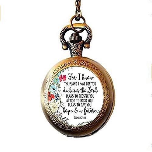 Jeremiah 29:11 Taschenuhr, Halskette für I Know The Plans I Have for You, Bibelvers, Taschenuhr, Halskette, Glas, christlicher Schmuck für Damen und Herren