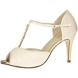 Rainbow Club Brautschuhe Adrianna | Sandale Pumps High Heels | Ivory Satin | Gr 39 EU (6 UK)