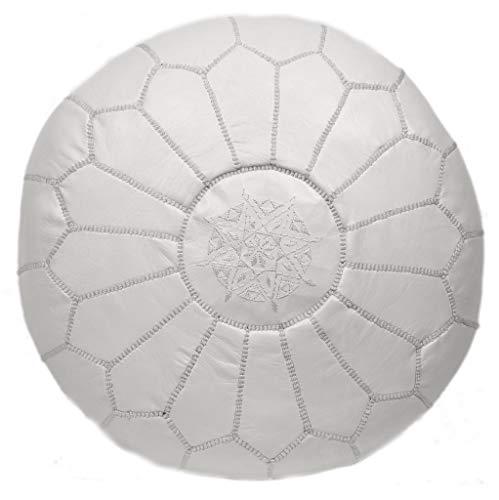 Poufs&Pillows Premium Echt Leder Pouf - Handgefertigt - Gefüllt geliefert - Ottoman, Sitzsack, Fußhocker (Weiß)