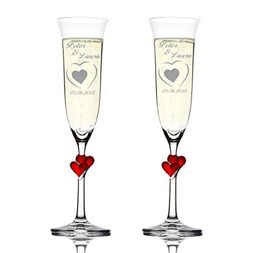 Stölzle Lausitz Amour Ensemble de 2 coupes à champagne avec gravure personnalisée motif - Dans le Grand Cœur Petit Cœur