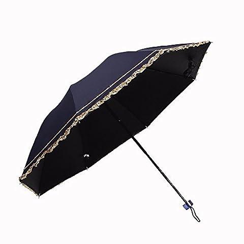 Folding Umbrella - Creative New Folding Umbrella Dual-Purpose Sunshade Umbrella Umbrella Seventy Percent Off Ultra Light Small Fresh,Modai Noir