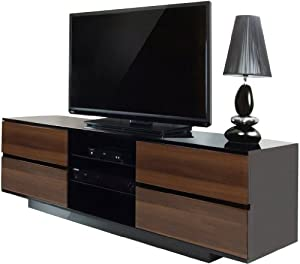 "Centurion Avitus Walnut Black, Gloss Black with 4-Walnut Drawers & 3-Shelf 32""-65"" LED/LCD/Plasma Cabinet TV Stand"