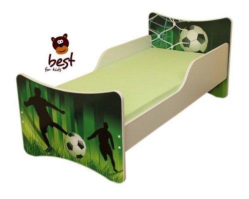 Best For Kids KINDERBETT mit Schaummatratze mit TÜV ZERTIFIZIERT 90x200 30 DESIGNS (Fussball)