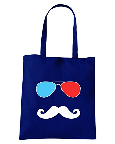 T-Shirtshock - Borsa Shopping OLDENG00301 3d glasses stache dark tshirt (1) Blu Navy