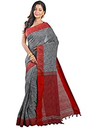 Avik Creations Women's Cotton Saree With Blouse Piece (Ac-1003,Black, White, Red,Free Size)
