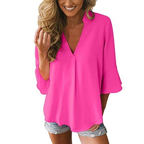 Bustier & Kostüm Thong Samt - Dorical Billige Damen Oberteile Tops, Beiläufig 3/4 Schößchen Ärmel Sexy Tiefer V-Ausschnitt Chiffon Slim Fit Bluse Hemd für Frauen(EU 38/CN XL,Pink)