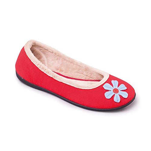 Padders Femmes Chausson en Feutre 'Happy' | Style de chausson de ballet | Grande Taille G | Talon 15mm | Avec Chausse-Pied Gratuit Rouge / Combi