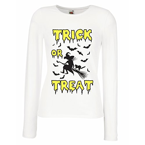 (Weibliche Langen Ärmeln T-Shirt Trick or Treat - Halloween Witch - Party outfites - Scary Costume (XX-Large Weiß Mehrfarben))