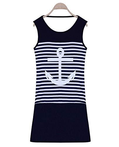 CEGFXCSW Kleid Sommer Plus Größe Frauen Kleiden Beiläufiges Sleeveless Weißes Blaues Anker-Druck-Gestreiftes Kleid-Strand-Minikleid, Blau, S An (Für Anker-kleid Frauen)