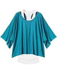 LSWA GZ-T01 Longshirt Tunika 2 in 1 Shirt Bluse Batwing Tank Top Kleid Poncho T-shirt