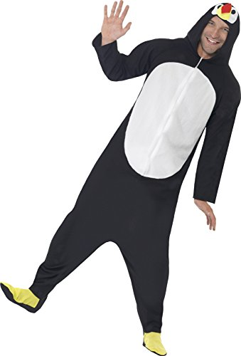 Smiffys, Herren Pinguin Kostüm, All-in-One mit Kapuze, Größe: M, 23632
