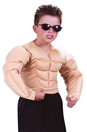 Muskel Shirt Kinder Kostüm - Muskulöser Oberkörper für Jungen Sixpack Muskeln Muckies Fatsuit für Kinder-Kostüm Teenager Assi Proll, Kindergröße:8 bis 10 Jahre