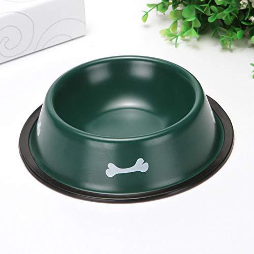 Fghomeaqwsq distributore di alimenti forniture per animali domestici ciotola per alimenti ciotola per gatti cane in acciaio inossidabile con vernice colorata @ verde scuro
