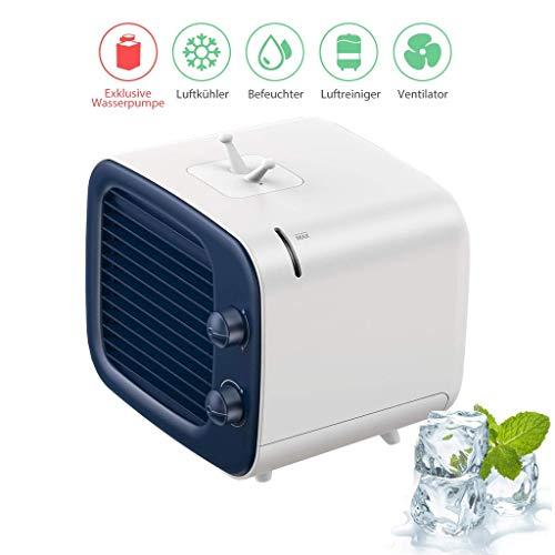 LHZHG Mini Klimaanlage, 3 in 1 Mini Luftkühler Ventilator Luftreiniger Intelligentes Luftbefeuchter mit USB Anschluss Tragbare Mobile Klimageräte für Haus Büro (Color : Blue) - Körper Zu Waschen Nachfüllen