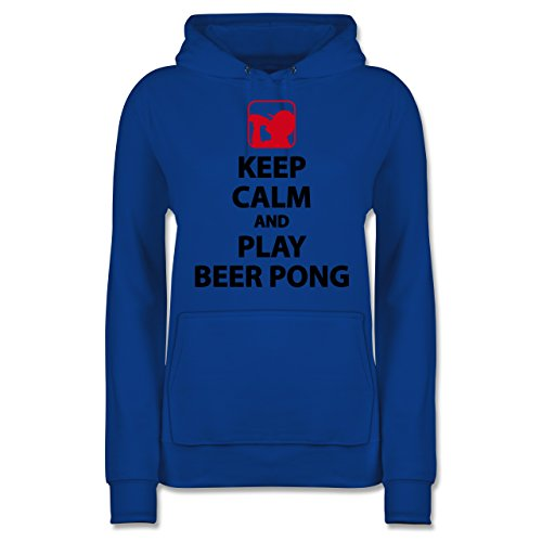 Festival - Keep Calm and Play Beer Pong - S - Royalblau - JH001F - Damen Hoodie