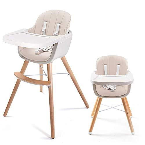 JJJJD Baby Hochstuhl, 3 In 1 Massivholz Moderne Haushalt Kinder Esszimmerstuhl Tisch Mit Kissen, Kleinkind Kleinkind Einstellbare Fütterung Hochstuhl (Farbe : Beige) -