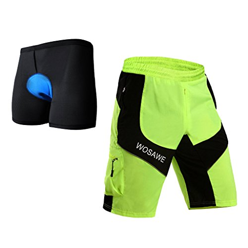 B Blesiya 3D Gel Imbottito Intimo Ciclismo da Uomo + Pantaloni Mtb Uomo Ciclismo Loose-Fit Sport Outdoor Arrampicata, Pantaloncini Sportivi...