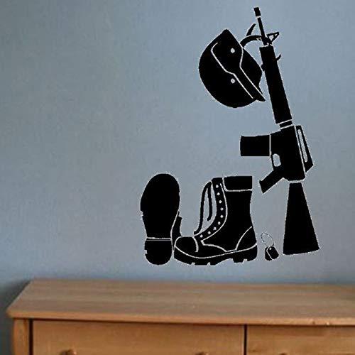 BFMBCH Stivali militari Cappello Pistola Adesivi murali impermeabili Adesivi murali in vinile Camera da letto ragazzo Decorazione domestica Soggiorno Arte murale nero 57X83cm