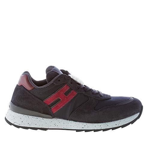 Hogan Uomo Running R261 Sneaker in camoscio e Tessuto Blu più Rosso Color Blu Size 39 EU (UK 5.5)