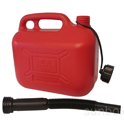 Serbatoio plastica, Jerrican 5 litri Tanica di benzina per il trasporto di benzina o diesel per auto e moto, rosso-Sunbox Idrocarburo