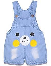 Pantalones Vaquero de Peto Para Bebé Niños Niñas Corto De Verano Azul con Corazón Encaje Lindo Overall Mono