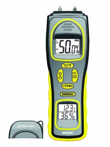 Pinless Moisture Meter (General Tools Feuchtigkeitsmesser, Pin-Typ oder Pinless, Temperatur und Luftfeuchtigkeit (MMH800))