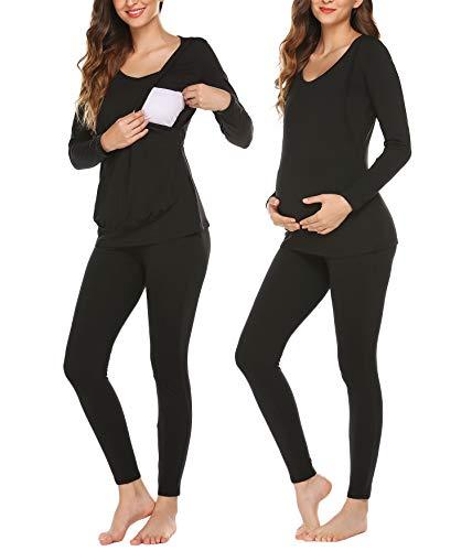 Untlet Damen Nachthemd Umstandspyjama Schwangere Zweiteilige Thermo Unterwäsche Lang Warm Weich Stillschlafanzug mit Stillfunktion S-XXL, Schwarz, M
