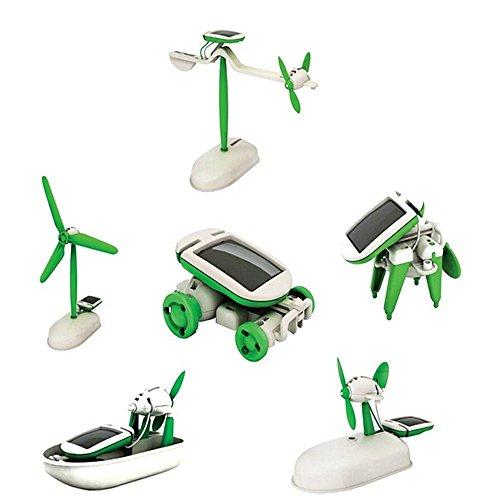 6 in 1 Pädagogische Solar Kit Roboter-Spielzeug-Auto zu Flugzeug Puppy Solar-auto Kits