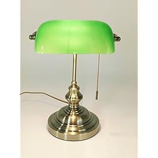 Tischleuchte Bankers Lamp Grün Mit Zugschalter, Bankerslamp Bankerlampe  Gestell Antik Messing Schirm Grün Schreibtischlampe Arbeitsleuchte