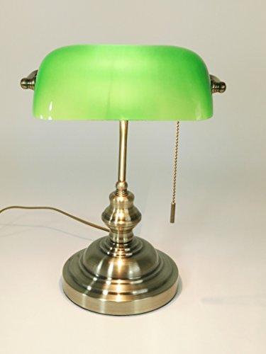 Antike Banker Lampe (Tischleuchte Bankers Lamp grün mit Zugschalter, Bankerslamp Bankerlampe Gestell antik messing Schirm grün Schreibtischlampe Arbeitsleuchte antik retro Nostalgie)