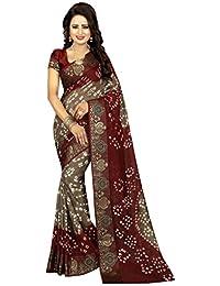 Wedding Villa Women's Art Silk Bandhej Saree With Blouse Piece (Darpan9_Grey_Maroon_Colour)
