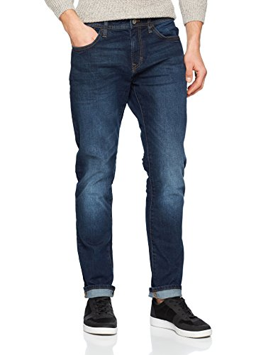 edc by ESPRIT Herren Slim Jeans 028CC2B005, Blau (Blue Dark Wash 901), 32/32