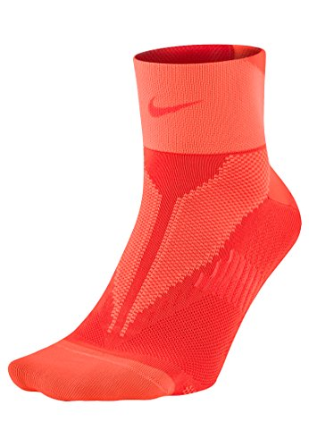 Nike One-Quarter Socks Elite Run Lightweight Naranja / Plata (BRIGHT CRIMSON/HYPROR/(BRTCRM))