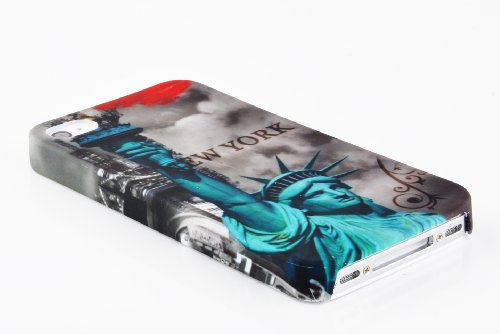 Cadorabo - Hard Cover für >             Apple iPhone 4 / 4S             < - Case Cover Schutz-Hülle Bumper im Design: LILA VEILCHEN NEW YORK - FREIHEITSSTATUE