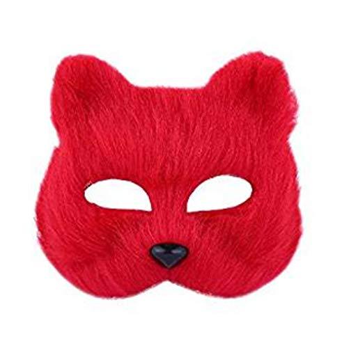 Halloween-Fix-Maske Cosplay-Kostüm, halbes Gesicht, Tier-Kopfbedeckung, Pelz-Party-Zubehör rot