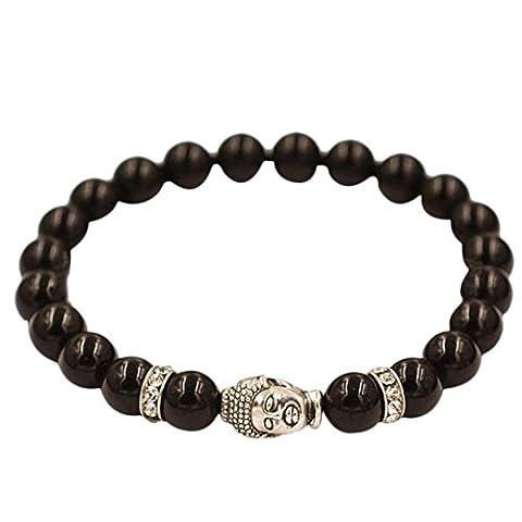 familizo Unisexe Bracelet Bouddha argent bracelet élastique en perles Tibet charms Bracelets, noir, Elastic