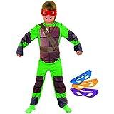 Tortugas Ninja - Set con disfraz y máscara, color verde, 5-6 años (Rubies 886811-M)