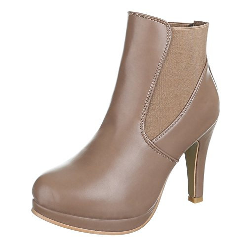 Chaussures, b2916–pB hIGH hEELS femme, bottines à plateforme Marron - Sable