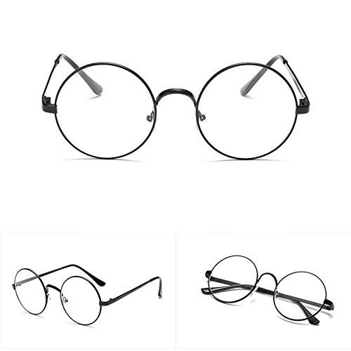 Lamdoo Chic Sonnenbrille Retro, Runder Metallrahmen Klare Linse Brille Nerd Brille, Schwarz, Toal...