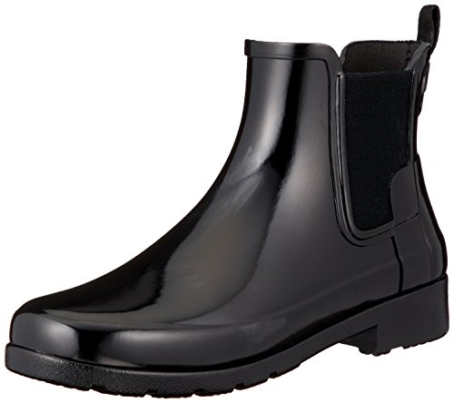 Hunter Women's Original Refined Chelsea Gloss Black High-Top Rubber Rain Boot -...