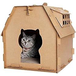 AYWJ YAN Cartón Casa del Gato Rascador, Gato Corrugado Casa con Rascar Pad para Gatito del Gato del Gatito Cubierta, Bricolaje Durable Reciclable Cartón De Papel del Gato De Casa