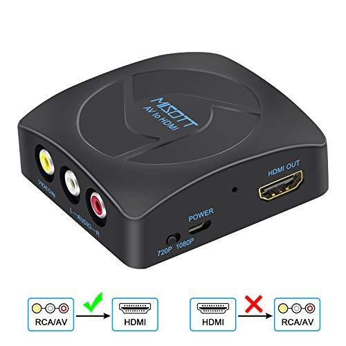 [Upgrade Version] MISOTT RCA Composite CVBS AV zu HDMI Scaler Konverter Adapter, Unterstützt 720P / 1080P Ausgang Switch für PS2, N64, Wii, STB, VHS, VCR-Kamera, DVD