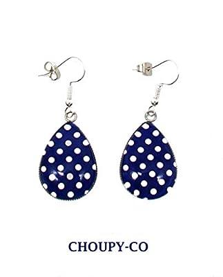 Boucles d'oreilles gouttes cabochon * bleu marine * pois blancs argenté boucles pendantes fantaisie femme idée cadeau anniversaire fête des mères